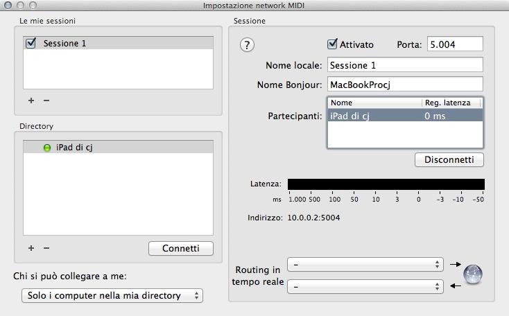 Configurazione MIDI Audio