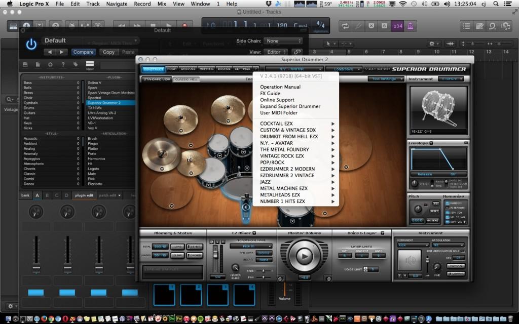 VSTi in Logic M-Audio Trigger Finger Pro