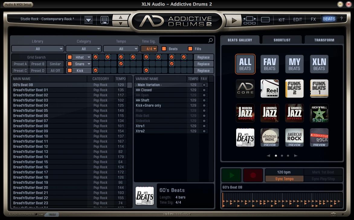 XLN Audio Addictive Drums Beats Search