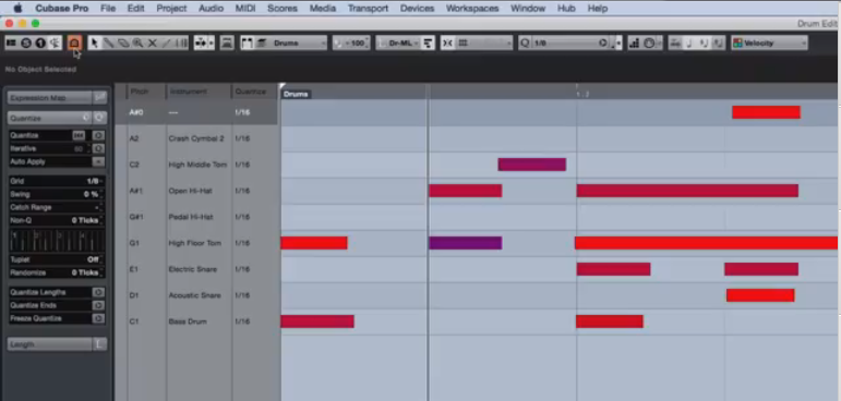 visualizzare solo le corsie relative agli strumenti in uso nel pattern