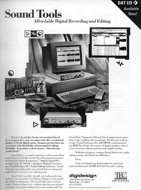Una pubblicità di Sound Tools