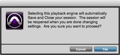 Playback Engine Alert