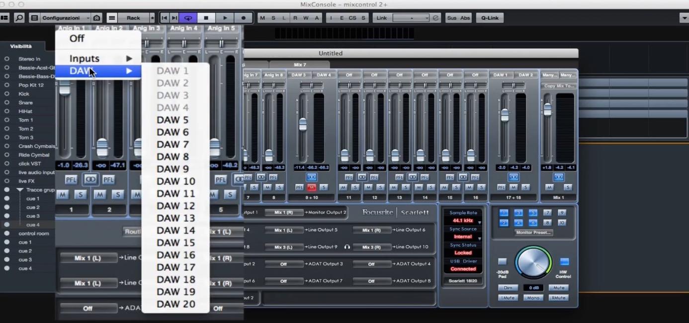 Schermata MixControl